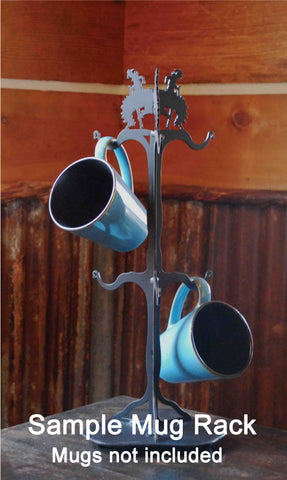 Buffalo Design Metal Coffee Mug Rack