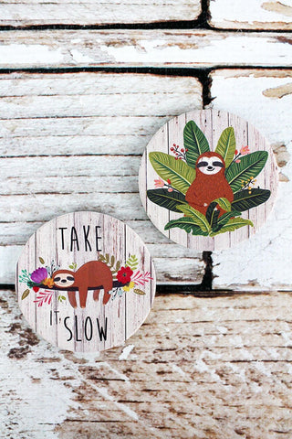2 Piece Take It Slow Sloth Car Coaster Set