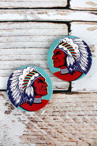 2 Piece Indian Chief Car Coaster Set