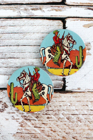 2 Piece Cowboy Car Coaster Set