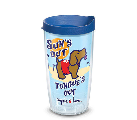 Puppie Love 'Sun's Out Tongue's Out' Surf Double Wall Tumbler with Lid by Tervis (3-4 Week Production Time)