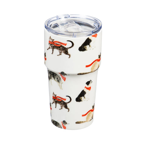 Double Wall Ceramic Companion Cup Stylin' Cat & Dog 13 Oz 3LTC997204