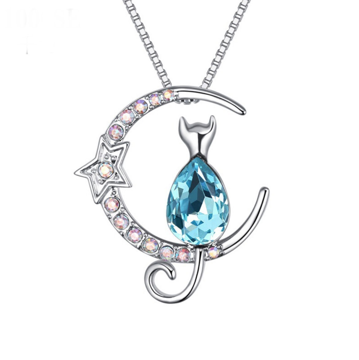 354cb3510c1 Cat on the Moon Pendant Necklace with Swarovski Crystal - She Jewelers