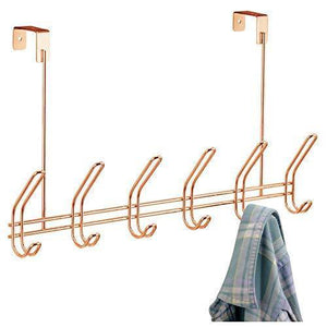 InterDesign Classico Over Door Storage Rack - Organizer Hooks for Coats, Hats, Robes, Clothes or Towels – 6 Dual Hooks, Copper