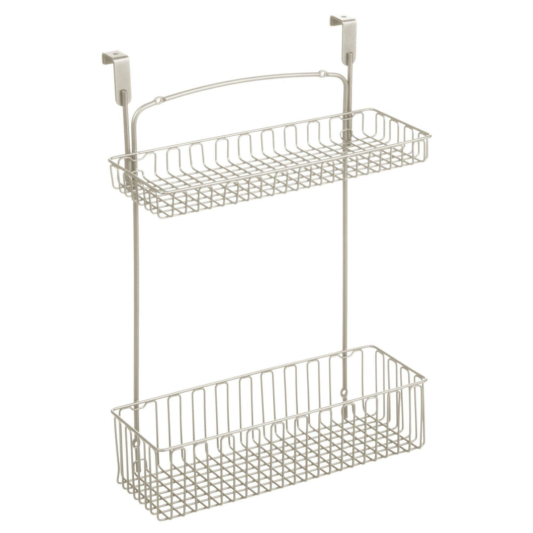 mDesign Metal Farmhouse Over Cabinet Kitchen Storage Organizer Holder or Basket - Hang Over Cabinet Doors in Kitchen/Pantry - Holds Dish Soap, Window Cleaner, Sponges - Satin