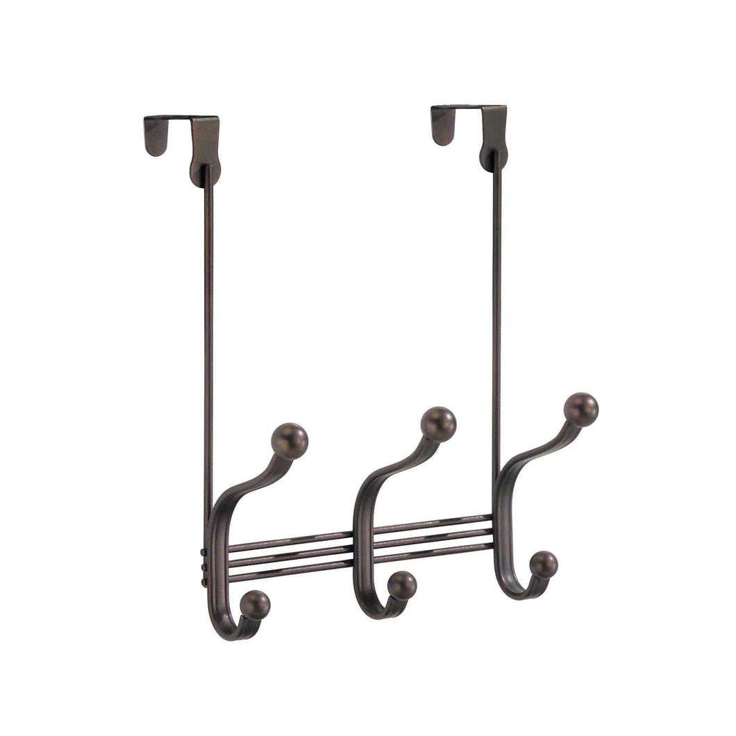 iDesign York Metal Over the Door Organizer, 3-Hook Rack for Coats, Hats, Robes, Towels, Bedroom, Closet, and Bathroom, 11.25