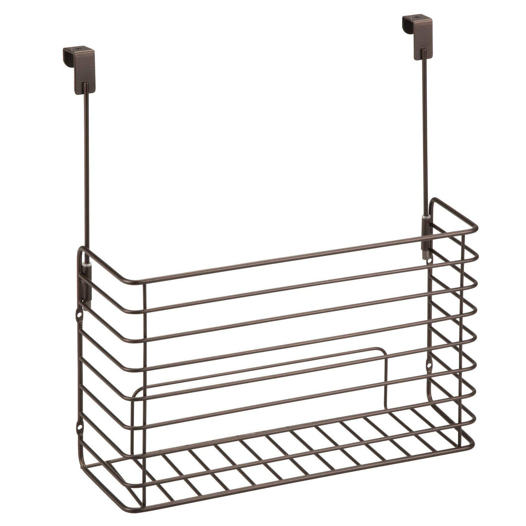 mDesign Metal Over Cabinet Kitchen Storage Organizer Holder or Basket - Hang Over Cabinet Doors in Kitchen/Pantry - Holds Bakeware, Cookbook, Cleaning Supplies - 2 Pack, Steel Wire in Bronze
