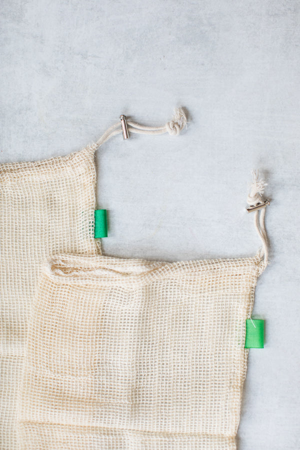 Organic Cotton Mesh Produce Bags, set of three