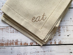 Natural Eat Embroidered Hemstitch Cloth Napkins, set of four