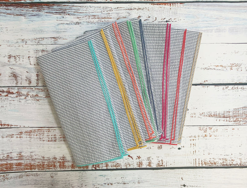 Grey Seersucker Cloth Napkins with Color Edging, set of 8