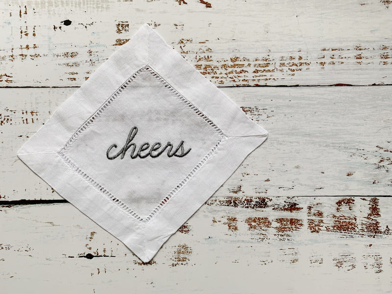 Cheers Hemstitch Cocktail Napkins, set of four