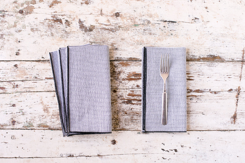 seersucker dinner napkins, set of 4