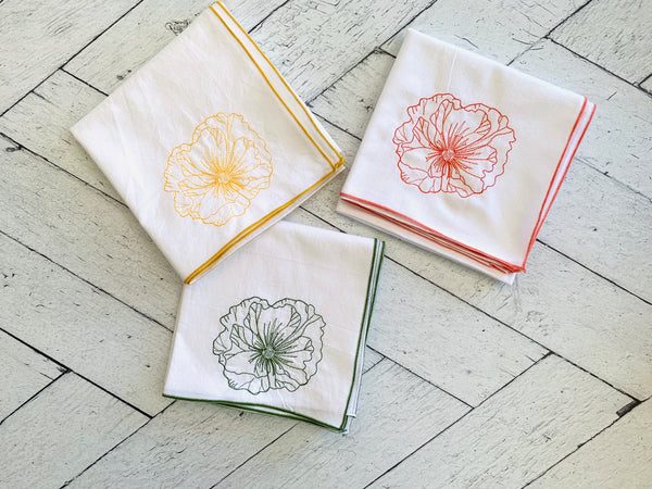 Deco Poppy Flour Sack Towels- set of three