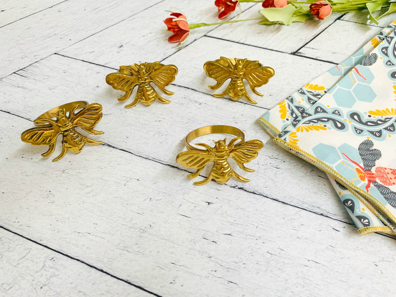 Bee Napkin Rings, set of four