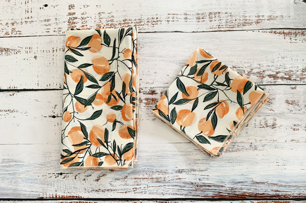Apricot or Peaches? Cloth Napkins, set of four