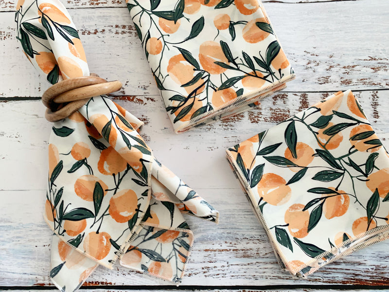 Peaches Cloth Napkins, set of four