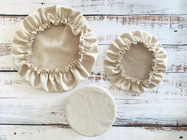 Natural Reusable Bowl Covers, set of three