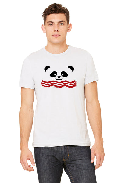 Male model wearing a Bacon Panda t-shirt designed by P.M.B.Q. Studios. Bacon Panda design is a simple smiling panda face printed in black ink, with a stylized piece of bacon underneath printed in red ink