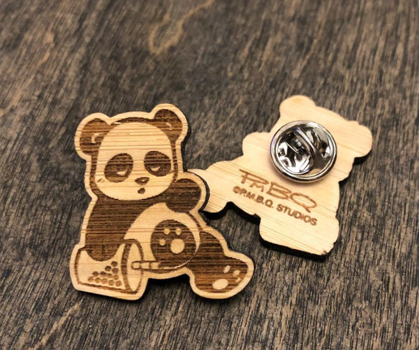 Sleepy Boba Panda Bamboo Pin