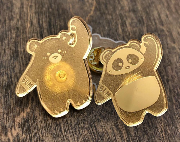 Black Lives Matter Bear + Panda Gold Pin Set