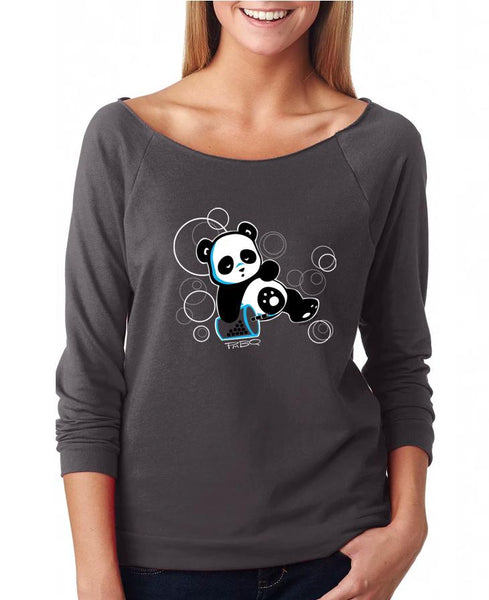 Sleepy Boba Panda, a character created and owned by P.M.B.Q. Studios, relaxes in a boba coma on a background of bubbles on this design. The design is printed in white ink on a grey raw edge 3/4 sleeve raglan women's french terry fleece t-shirt. The shirt is worn by a female model.