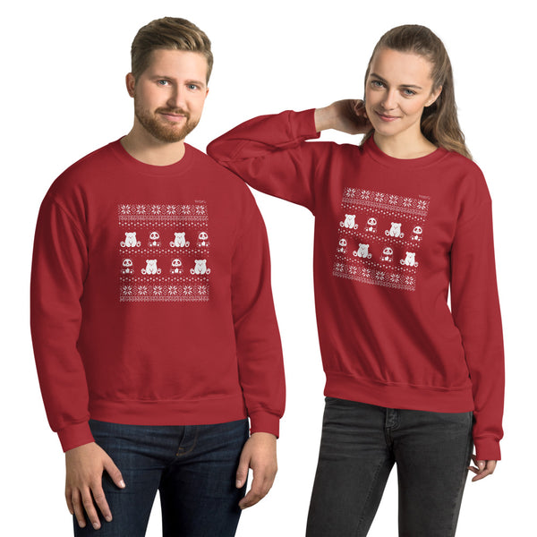 Winter Holiday Sweater design by P.M.B.Q. Studios. This design simulates a wintry knit pattern and features the Polo Cub character and his adorable panda friend. The design is white printed on a unisex red crewneck sweater. There is a male and female model, each wearing this sweater.