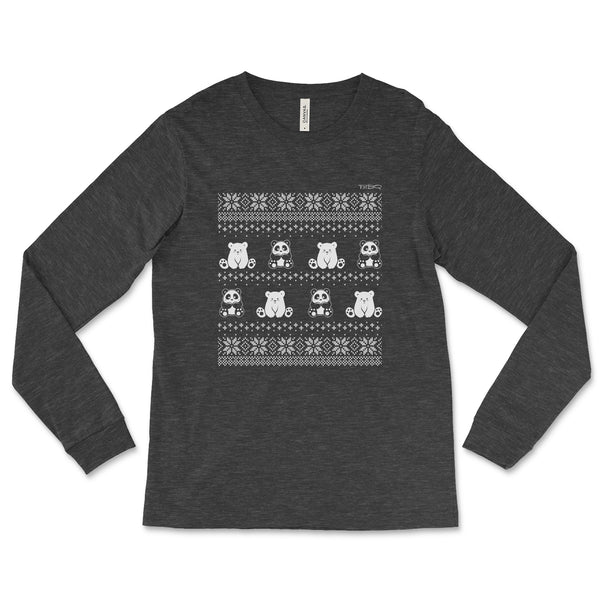 Winter Holiday Panda Sweater design by P.M.B.Q. Studios. This design simulates a wintry knit pattern and features the Polo Cub character and his adorable panda friend. The design is white printed on a unisex dark heather longsleeve t-shirt.