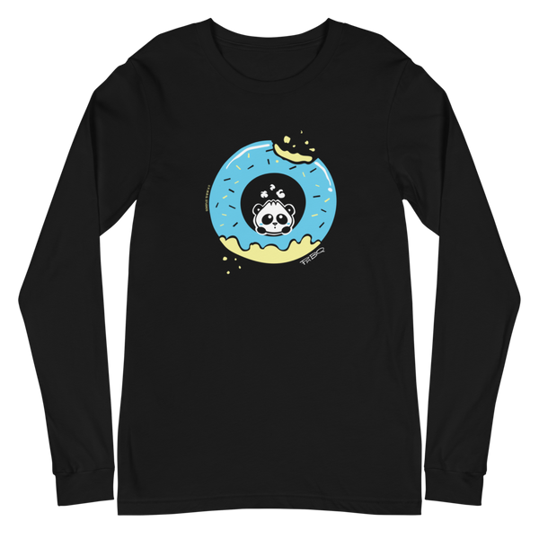 Pandabun, a character created and owned by P.M.B.Q. Studios, sitting in an a deliciously iced donut. He's looking up nervously at the bite in the donut on the upper right. This design is printed in white, light blue and lemon yellow on a black longsleeve unisex t-shirt.