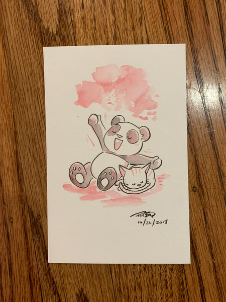 "Panda + Kitten Stretch - Original Watercolor 4""x6"""