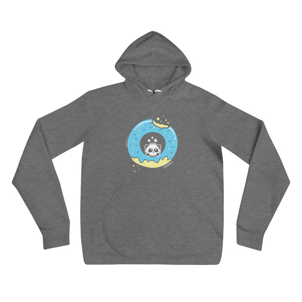 Pandabun, a character created and owned by P.M.B.Q. Studios, sitting in an a deliciously iced donut. He's looking up nervously at the bite in the donut on the upper right. This design is printed in white, light blue and lemon yellow on a deep heather unisex pullover hooded sweatshirt.