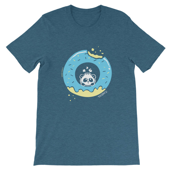 Pandabun, a character created and owned by P.M.B.Q. Studios, sitting in an a deliciously iced donut. He's looking up nervously at the bite in the donut on the upper right. This design is printed in white, light blue and lemon yellow on a heather deep teal unisex t-shirt.