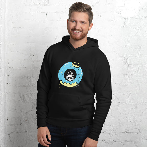 Pandabun, a character created and owned by P.M.B.Q. Studios, sitting in an a deliciously iced donut. He's looking up nervously at the bite in the donut on the upper right. This design is printed in white, light blue and lemon yellow on a black unisex pullover hooded sweatshirt, worn by a male model.