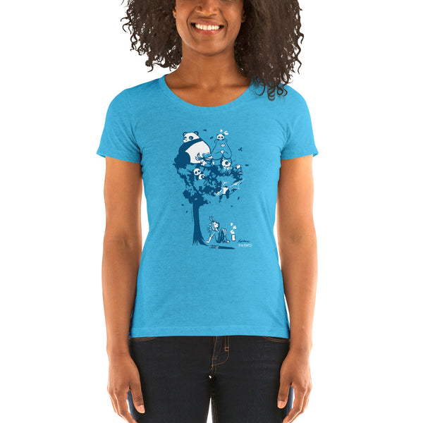 This design depics a group of characters designed and owned by P.M.B.Q. Studios, relaxing in a tree.  The design is printed in white and blue ink on a heather aqua women's t-shirt. The t-shirt is worn by a female model.
