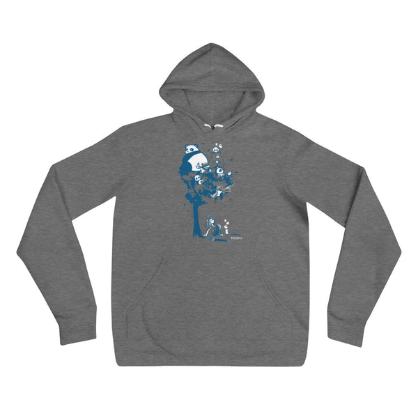 This design depics a group of characters designed and owned by P.M.B.Q. Studios, relaxing in a tree.  The design is printed in white and blue ink on a dark heather grey pullover hooded sweatshirt.