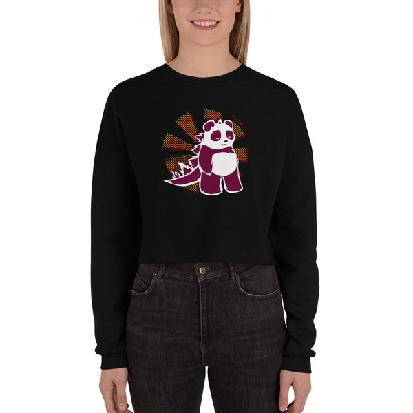 Pandazilla 2020 Crop Sweatshirt, Black, on a female model