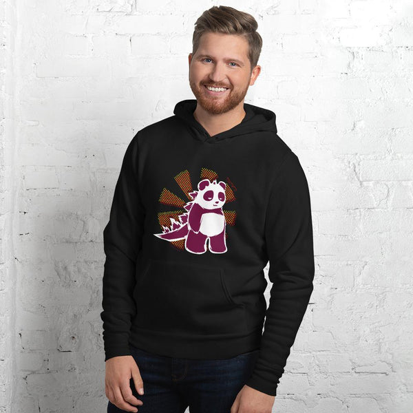 Pandazilla 2020 Unisex Hoodie, Black, on a male model