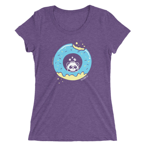 Pandabun, a character created and owned by P.M.B.Q. Studios, sitting in an a deliciously iced donut. He's looking up nervously at the bite in the donut on the upper right. This design is printed in white, light blue and lemon yellow on a purple triblend women's fitted t-shirt.