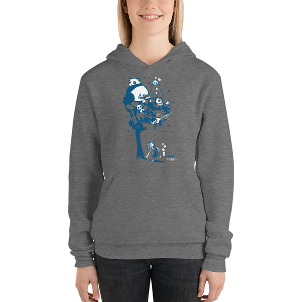 This design depics a group of characters designed and owned by P.M.B.Q. Studios, relaxing in a tree.  The design is printed in white and blue ink on a dark heather grey pullover hooded sweatshirt.  The sweatshirt is worn by a female model.