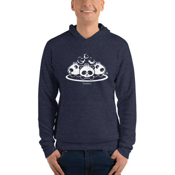 Pandabuns, characters created and owned by P.M.B.Q. Studios. These are three pandas that look like pork buns with steam puffing from the tops of their heads. This design is printed in white ink on a heather navy hooded pullover unisex sweatshirt. The sweatshirt is worn by a male model.