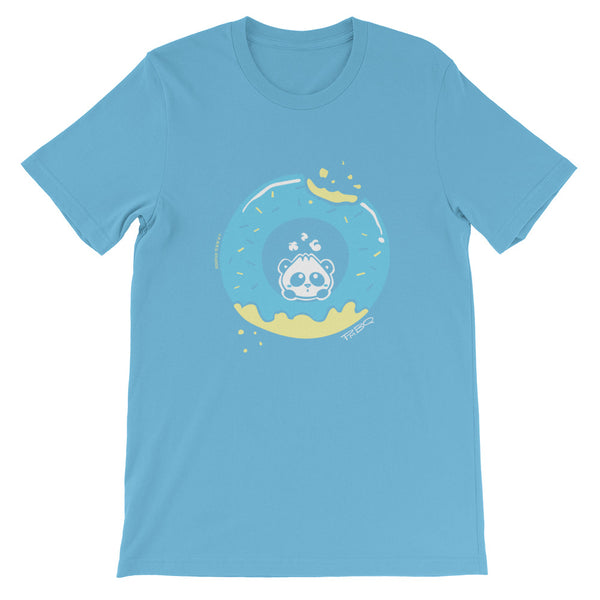 Pandabun, a character created and owned by P.M.B.Q. Studios, sitting in an a deliciously iced donut. He's looking up nervously at the bite in the donut on the upper right. This design is printed in white, light blue and lemon yellow on an ocean blue unisex t-shirt.
