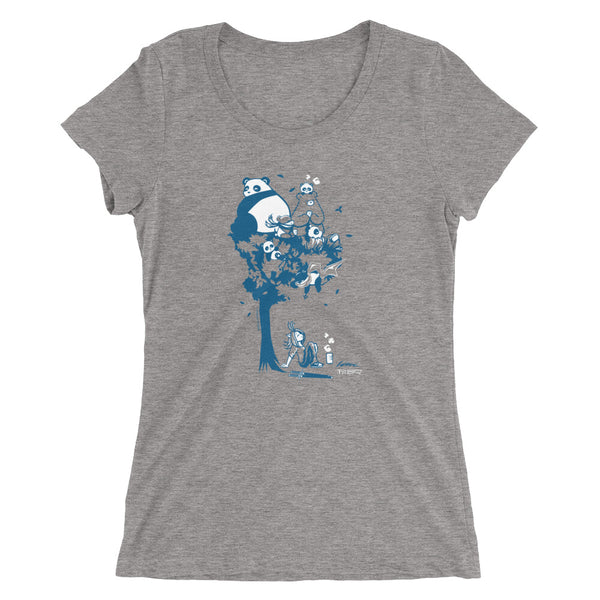 This design depics a group of characters designed and owned by P.M.B.Q. Studios, relaxing in a tree.  The design is printed in white and blue ink on a grey triblend women's t-shirt.