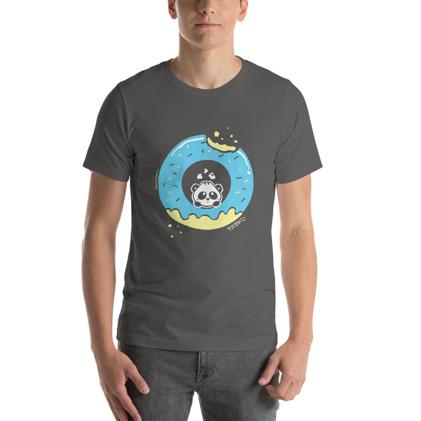 Pandabun, a character created and owned by P.M.B.Q. Studios, sitting in an a deliciously iced donut. He's looking up nervously at the bite in the donut on the upper right. This design is printed in white, light blue and lemon yellow on an asphalt unisex t-shirt. The t-shirt is being worn by a male model.