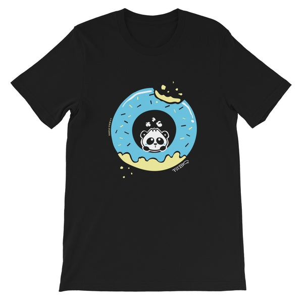 Pandabun, a character created and owned by P.M.B.Q. Studios, sitting in an a deliciously iced donut. He's looking up nervously at the bite in the donut on the upper right. This design is printed in white, light blue and lemon yellow on a black unisex t-shirt.