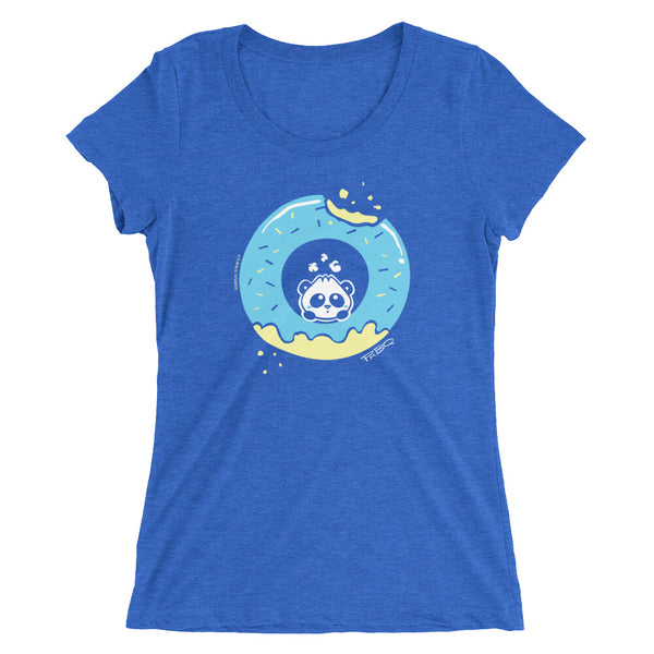 Pandabun, a character created and owned by P.M.B.Q. Studios, sitting in an a deliciously iced donut. He's looking up nervously at the bite in the donut on the upper right. This design is printed in white, light blue and lemon yellow on a true royal blue women's fitted t-shirt.