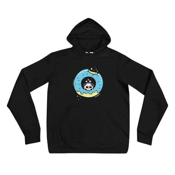 Pandabun, a character created and owned by P.M.B.Q. Studios, sitting in an a deliciously iced donut. He's looking up nervously at the bite in the donut on the upper right. This design is printed in white, light blue and lemon yellow on a black unisex pullover hooded sweatshirt.