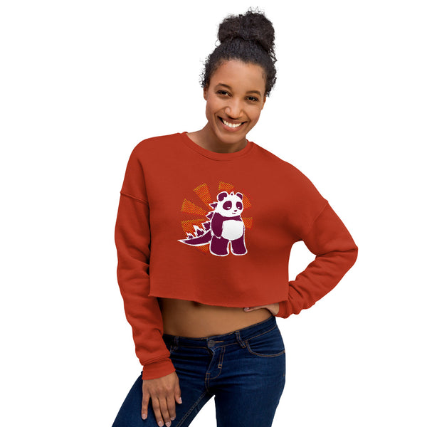 Pandazilla 2020 Crop Sweatshirt, Brick Red, on a female model