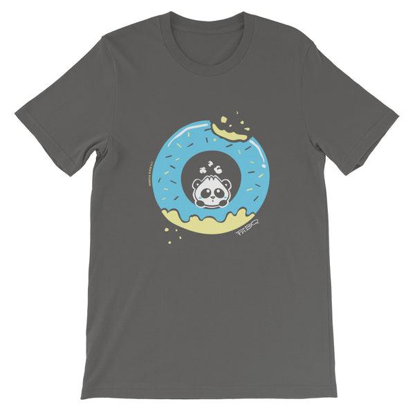 Pandabun, a character created and owned by P.M.B.Q. Studios, sitting in an a deliciously iced donut. He's looking up nervously at the bite in the donut on the upper right. This design is printed in white, light blue and lemon yellow on an asphalt unisex t-shirt.