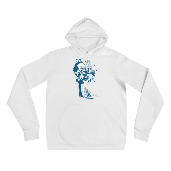 This design depics a group of characters designed and owned by P.M.B.Q. Studios, relaxing in a tree.  The design is printed in white and blue ink on a white pullover hooded sweatshirt.