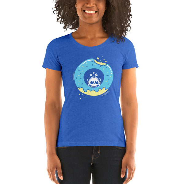 Pandabun, a character created and owned by P.M.B.Q. Studios, sitting in an a deliciously iced donut. He's looking up nervously at the bite in the donut on the upper right. This design is printed in white, light blue and lemon yellow on a true royal blue women's fitted t-shirt.  The t-shirt is worn by a female model.