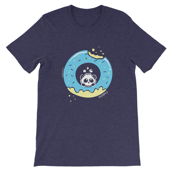 Pandabun, a character created and owned by P.M.B.Q. Studios, sitting in an a deliciously iced donut. He's looking up nervously at the bite in the donut on the upper right. This design is printed in white, light blue and lemon yellow on a heather midnight navy unisex t-shirt.